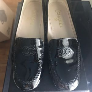 CHANEL Patent Leather Moccasins-Loafers